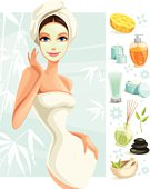 Illustration of a woman with facial mask with beauty spa icons. Woman, icons and background are grouped and layered separately.