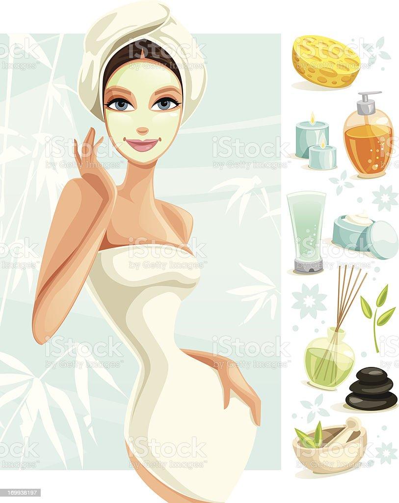 Spa y salón de belleza - ilustración de arte vectorial