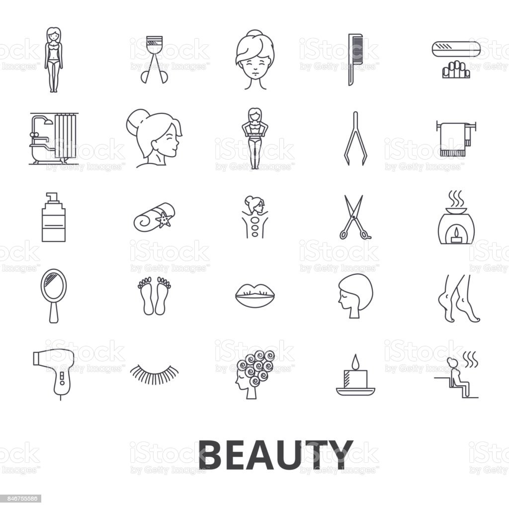 美容、スパ、wellnesss、ヘアサロン、comsetics、衛生、リラクゼーション、皮膚ケア ライン アイコン。編集可能なストローク。フラットなデザイン ベクトル図記号の概念。分離線形の兆候 ベクターアートイラスト