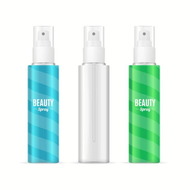 beauty spray can package set.realistic cosmetic bottle. vector - haarsprays stock-grafiken, -clipart, -cartoons und -symbole