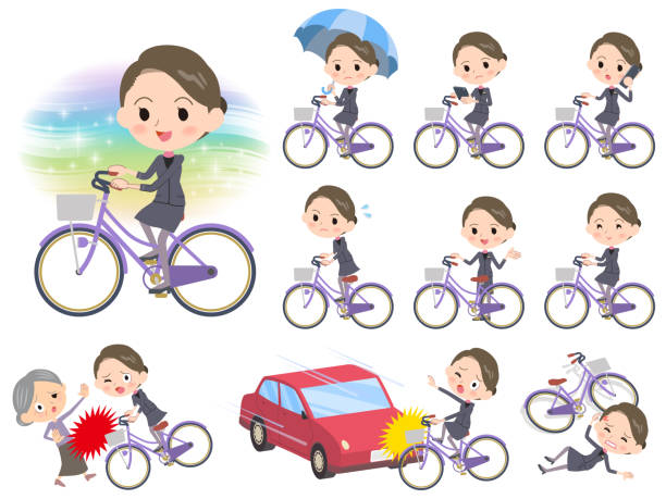 beauty staff women_city bicycle - old man on bike stock illustrations, clip art, cartoons, & icons