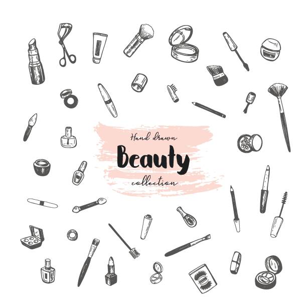 ilustrações de stock, clip art, desenhos animados e ícones de beauty store collection with make up. vector illustration. - make up