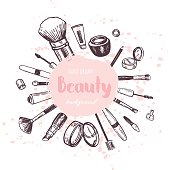 Beauty store collection with make up. Vector illustration.