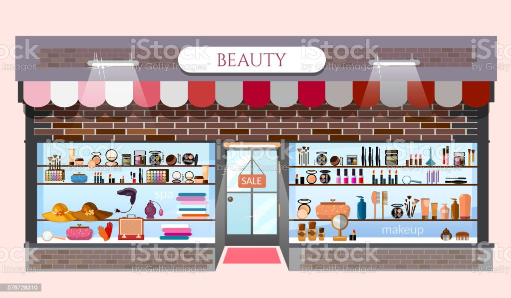 Beauty Store Fashion Shop Building Lizenzfreies Vektor Illustration