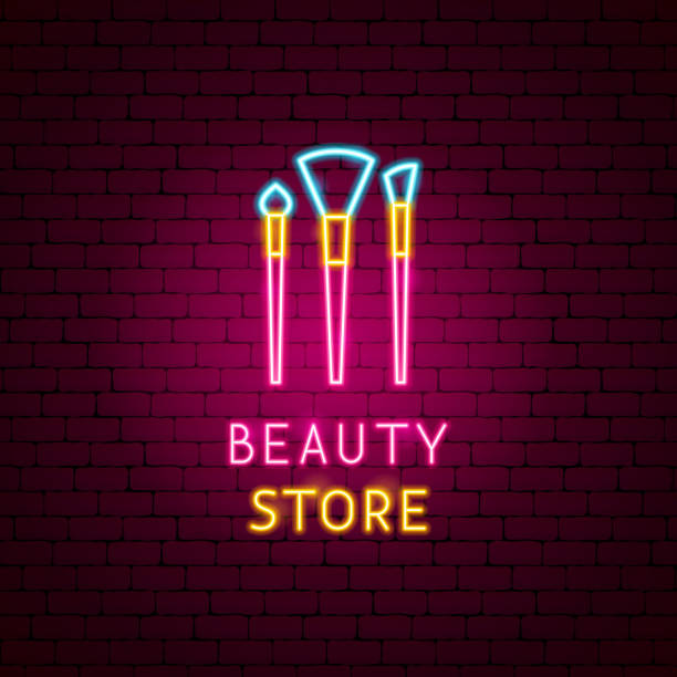 beauty store neon label - neonlidschatten stock-grafiken, -clipart, -cartoons und -symbole