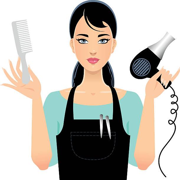 ilustrações, clipart, desenhos animados e ícones de beauty stylist - salão de beleza