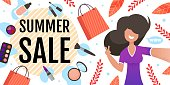 Great Beauty Summer Sales on Womens Cosmetics Flat Banner. Beautiful Fashion Young Girl Taking Selfie with Seasonal Discount Offer Text or after Use Care Products. Vector Advertising Flat Illustration