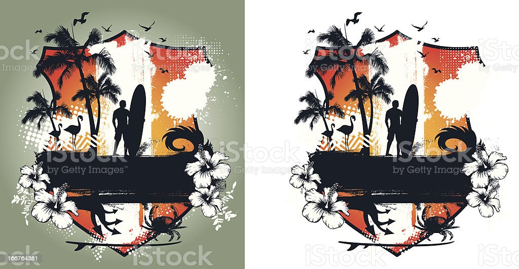beauty surf summer shield with many objects royalty-free stock vector art