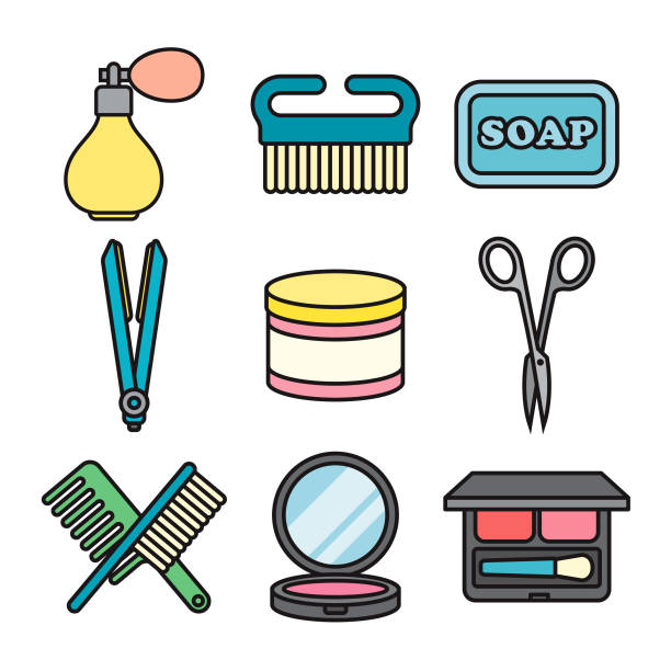 beauty thin line icon set - thin line fonts stock illustrations