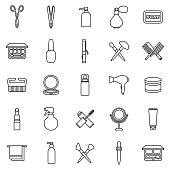 Beauty Thin Line Outline Icon Set