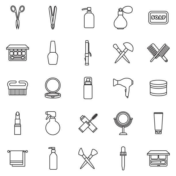 illustrazioni stock, clip art, cartoni animati e icone di tendenza di beauty thin line outline icon set - profumo