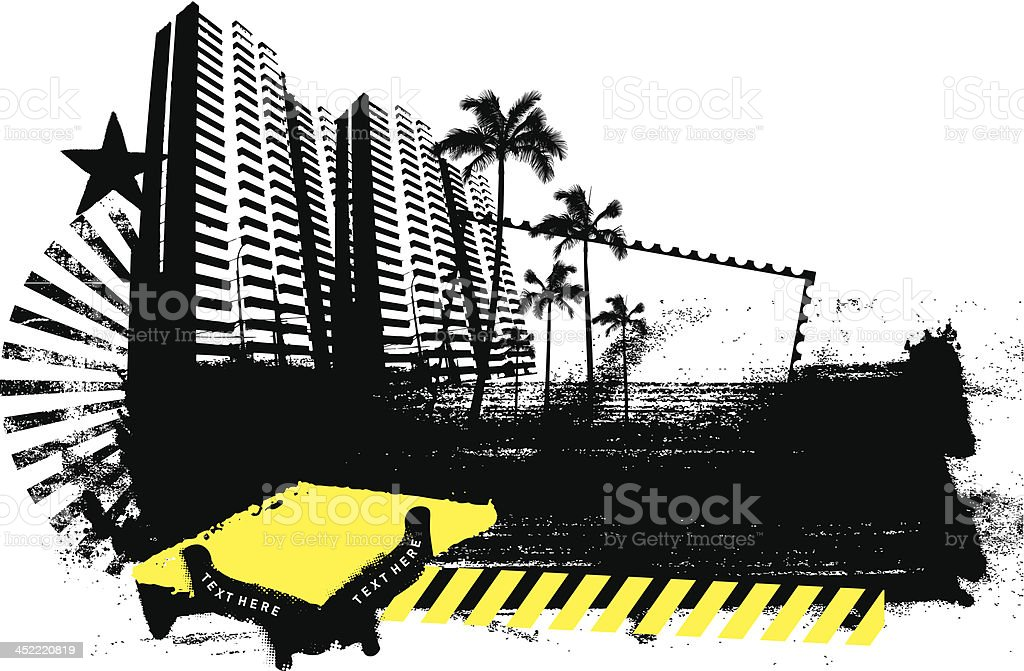 beauty urban banner with city and palms royalty-free beauty urban banner with city and palms stock vector art & more images of apartment