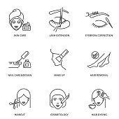 Beauty vector icons set: skin care, lash extension, eyebrow correction, nail care and design, make up, hair removal, haircut, cosmetology, dyeing.