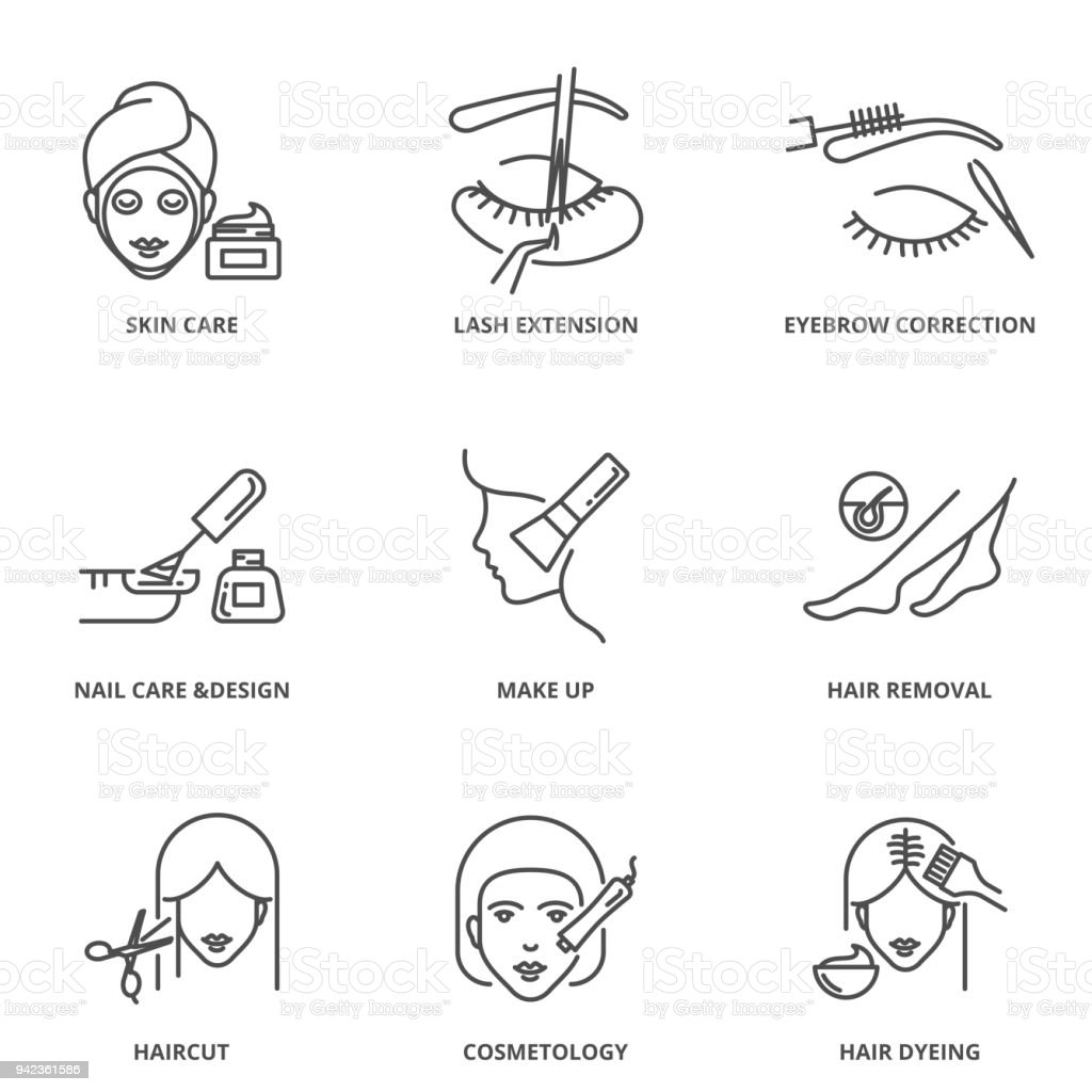 Schönheit-Vektor-Icons Set: Hautpflege, lash Extension, Augenbrauen Korrektur, Nagelpflege und Design, Make-up, Haarentfernung, Haarschnitt, Kosmetik, färben – Vektorgrafik
