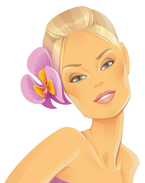 Beauty with an Orchid in her Hair vector art illustration