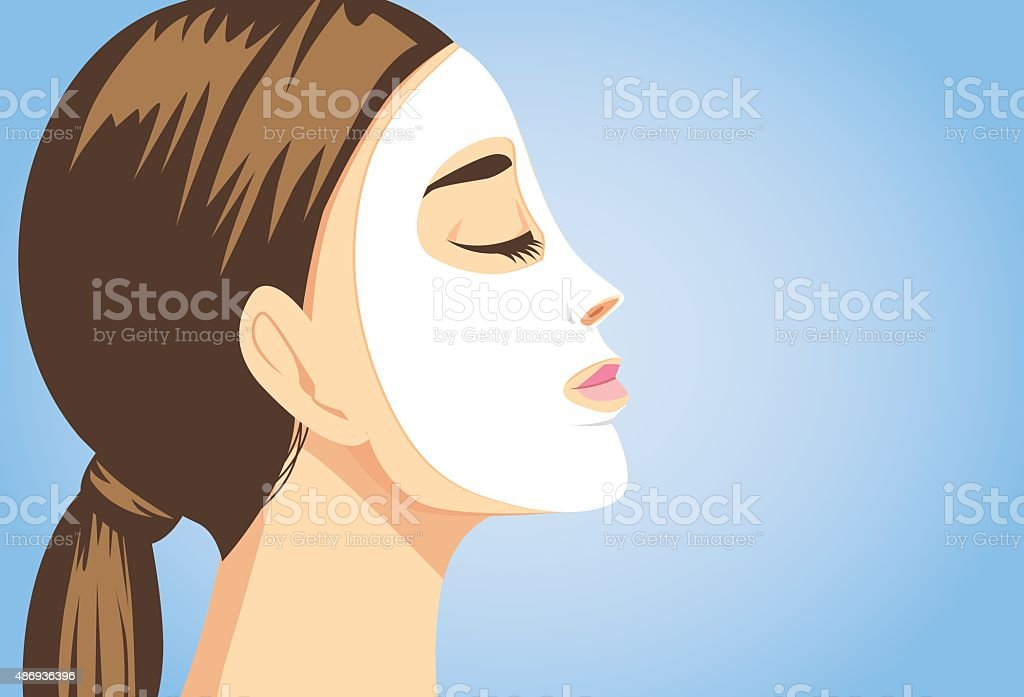 Beauty woman facial sheet mask side view vector art illustration