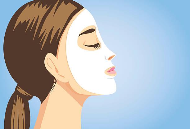 bildbanksillustrationer, clip art samt tecknat material och ikoner med beauty woman facial sheet mask side view - kvinna ansikte glow