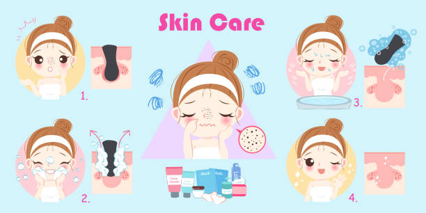 beauty woman with acne problem vector art illustration
