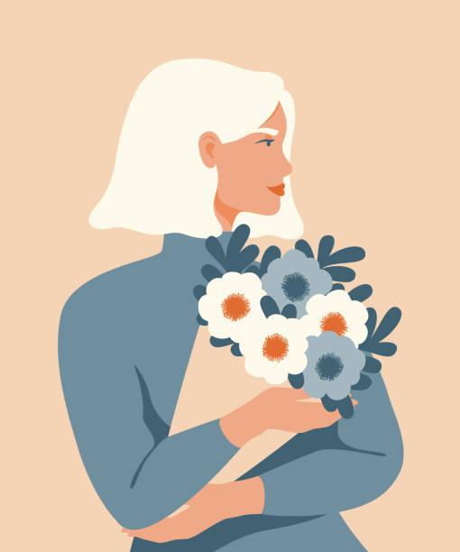 illustrations, cliparts, dessins animés et icônes de femme de beauté avec le cheveu blond retenant un bouquet des fleurs de source. - femme seule s'enlacer