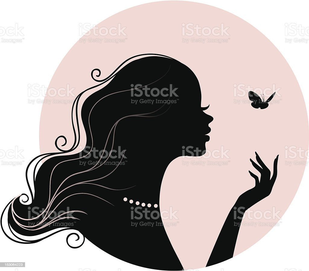 Beauty woman with butterfly vector art illustration