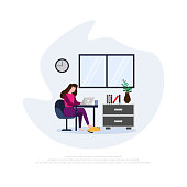 Beauty woman work from home flat design illustration concepts, stay at home for prevention measures from corona virus