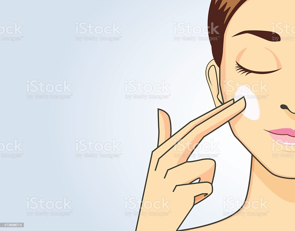 Beauty women apply cream on face vector art illustration