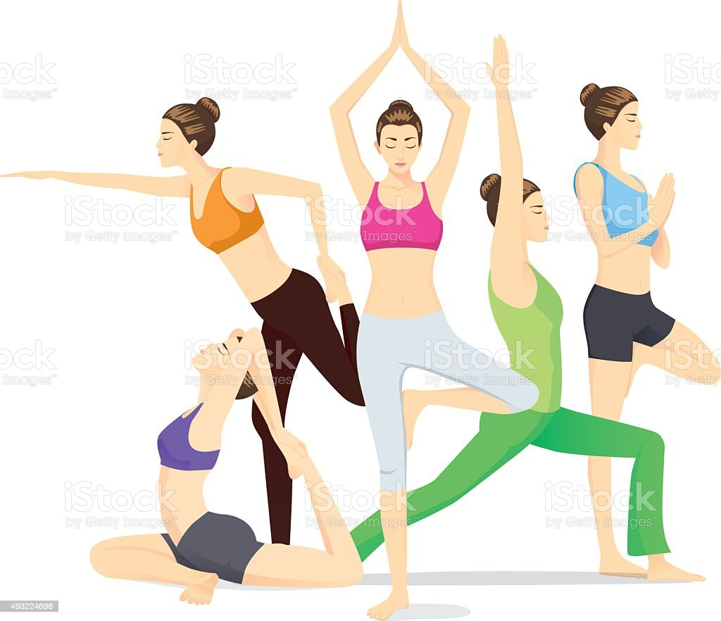 Beauty women group posing different yoga posture vector art illustration