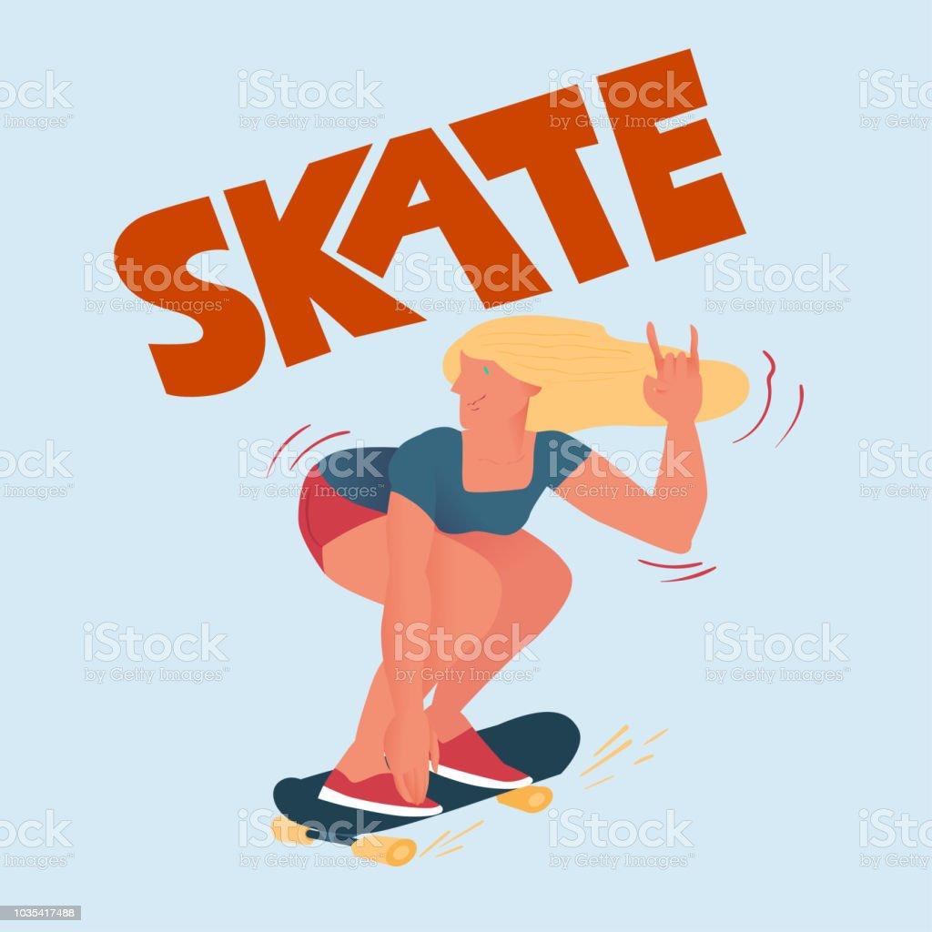 スケート ボードの美しい女の子クールなひよこはトリックを行います本文