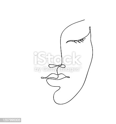 istock Beautyfull girl face. Attractive young woman portrait female beauty concept. Continuous one line drawing. Black and white vector illustration 1207995305