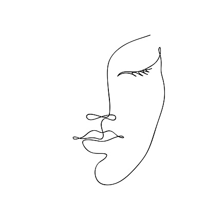 Beautyfull girl face. Attractive young woman portrait female beauty concept. Continuous one line drawing. Black and white vector illustration clipart