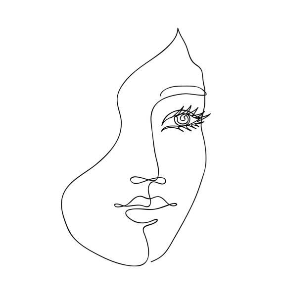 Schöne Mädchen Gesicht. Attraktive junge Frau Porträt weibliche Schönheit Konzept. Kontinuierliche eine Linienzeichnung. Schwarzweiß-Vektor-Illustration – Vektorgrafik