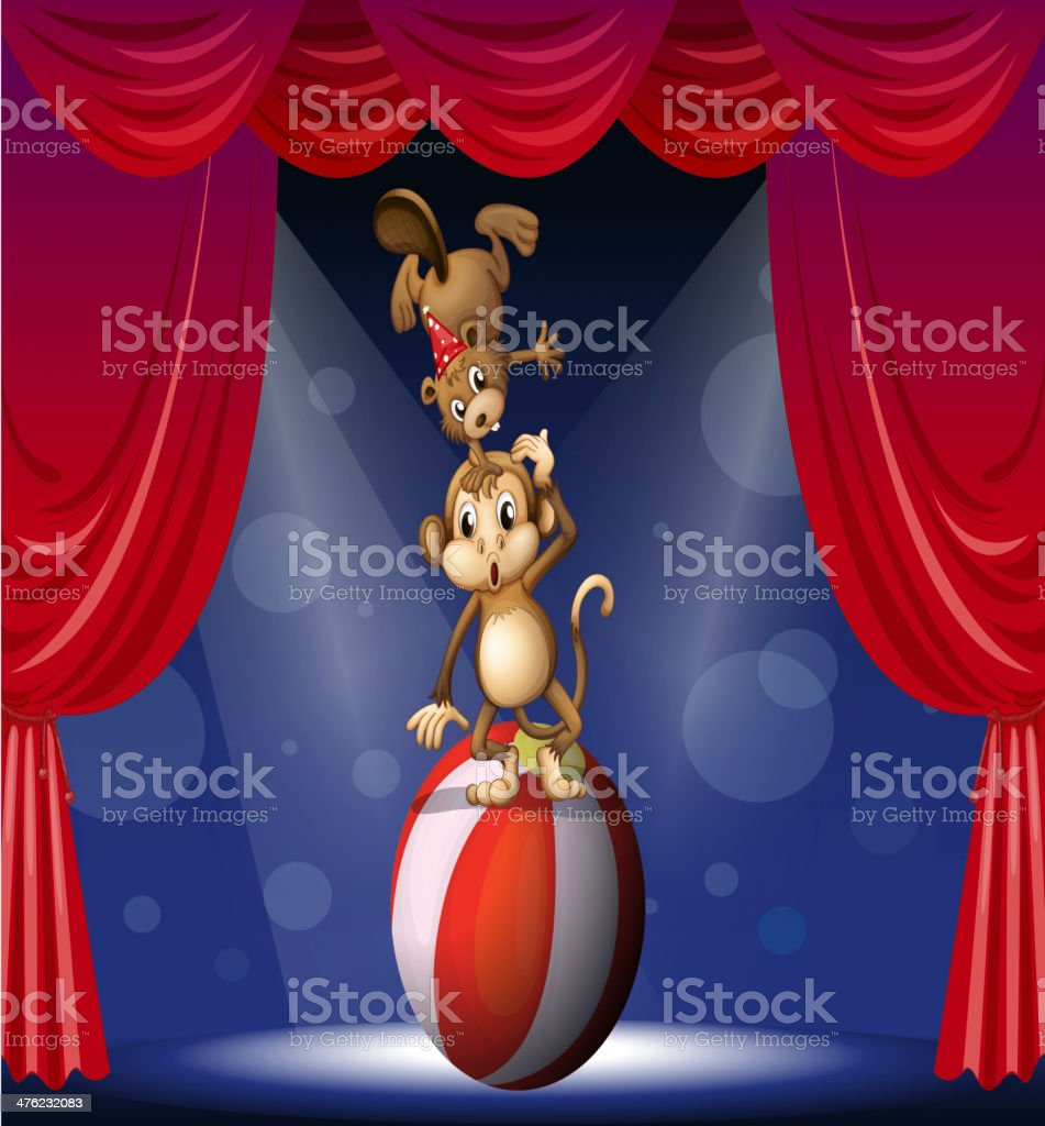 Beaver and a monkey perfoming on the stage vector art illustration