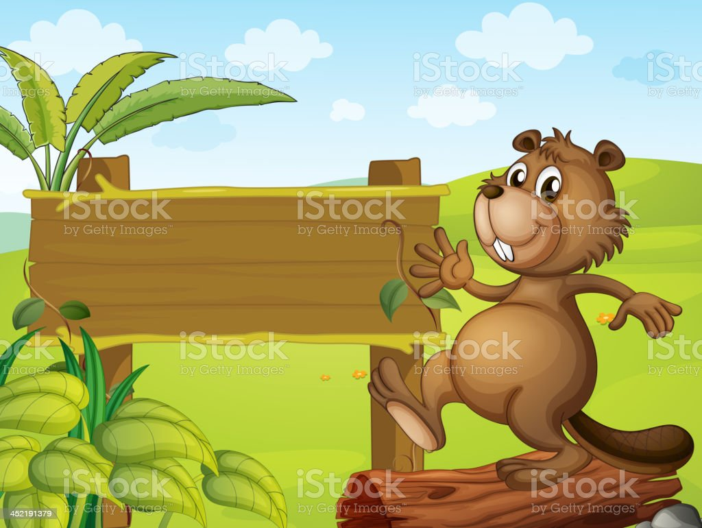 Beaver and an empty signboard royalty-free beaver and an empty signboard stock vector art & more images of animal