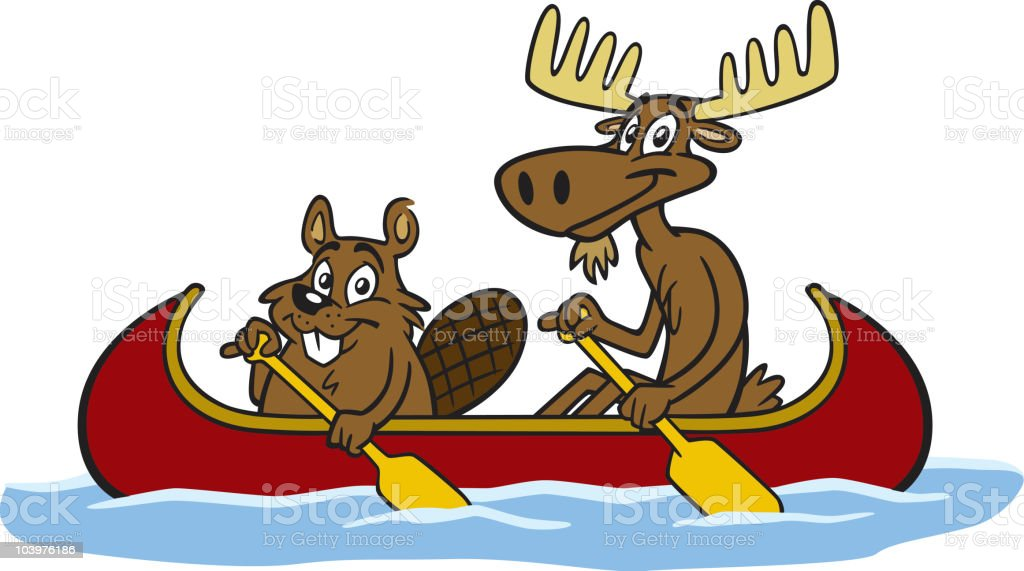 Beaver and Moose In Canoe vector art illustration