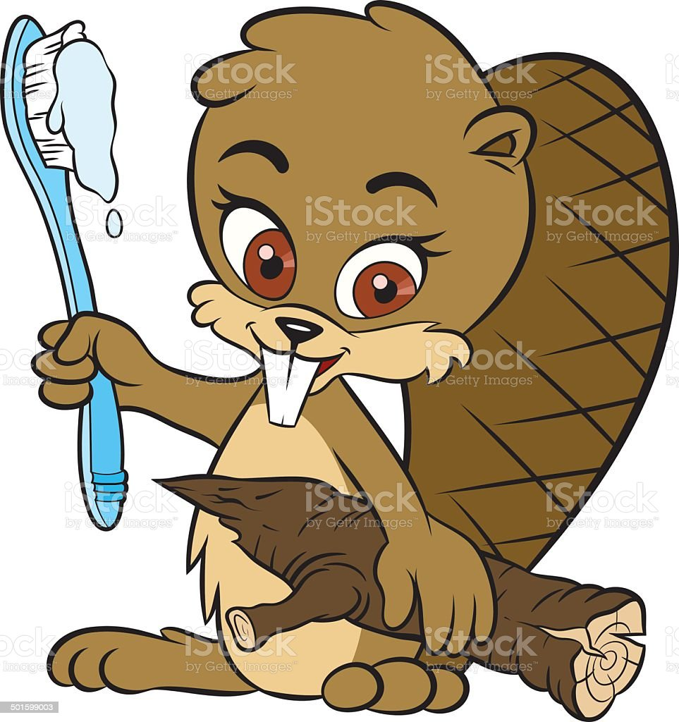 Beaver and toothbrush vector art illustration