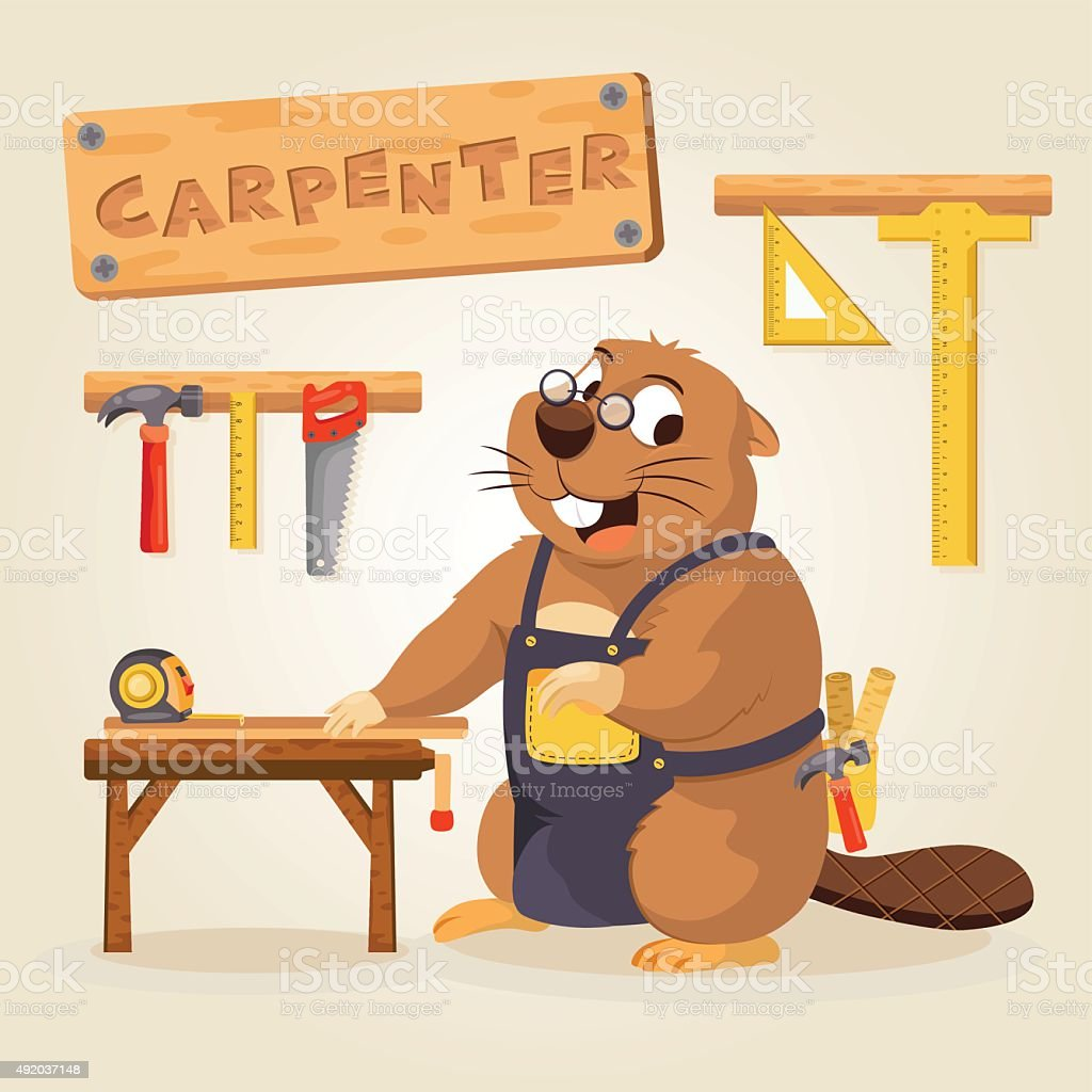 Beaver Carpenter with wood tool vector art illustration