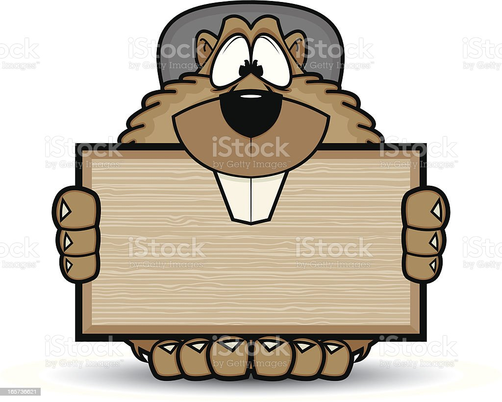 Beaver Character with Sign royalty-free stock vector art