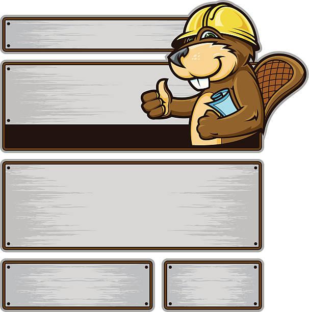 Beaver Construction Signs vector art illustration
