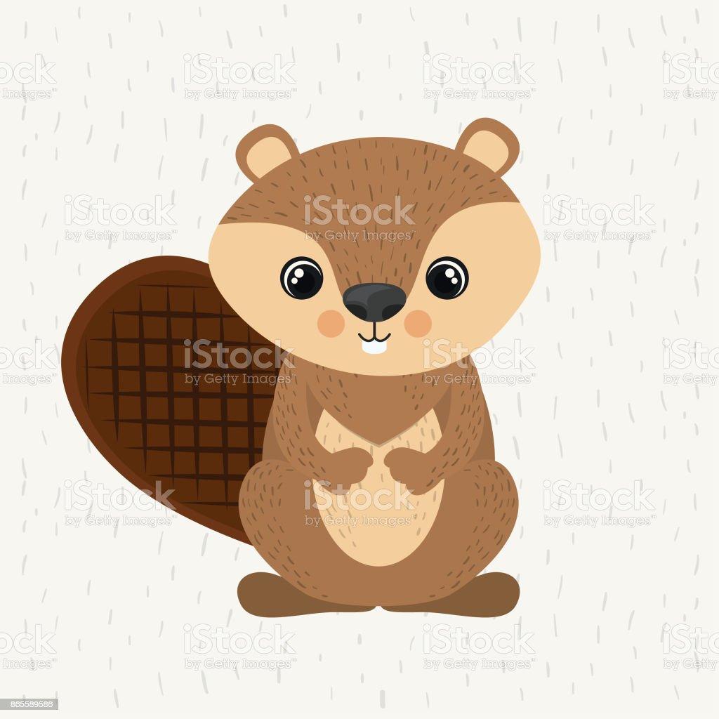 beaver cute wildlife icon векторная иллюстрация