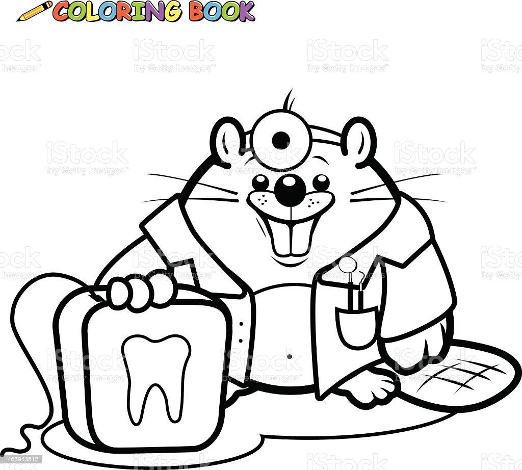 Ilustración de Beaver Dentista Sosteniendo Un Libro Para Colorear ...