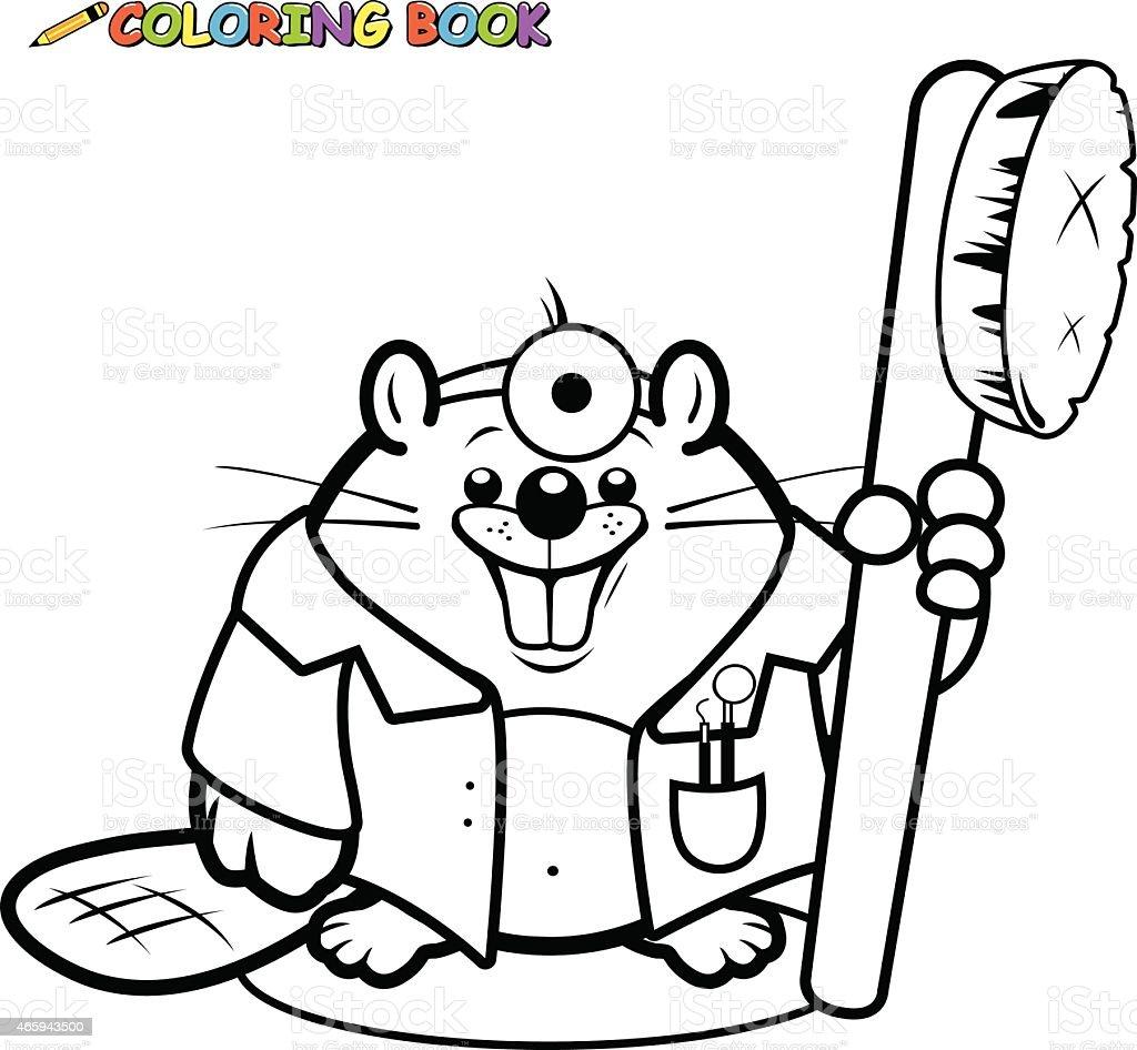 Beaver Dentista Sosteniendo Un Libro Para Colorear Página De Dientes ...