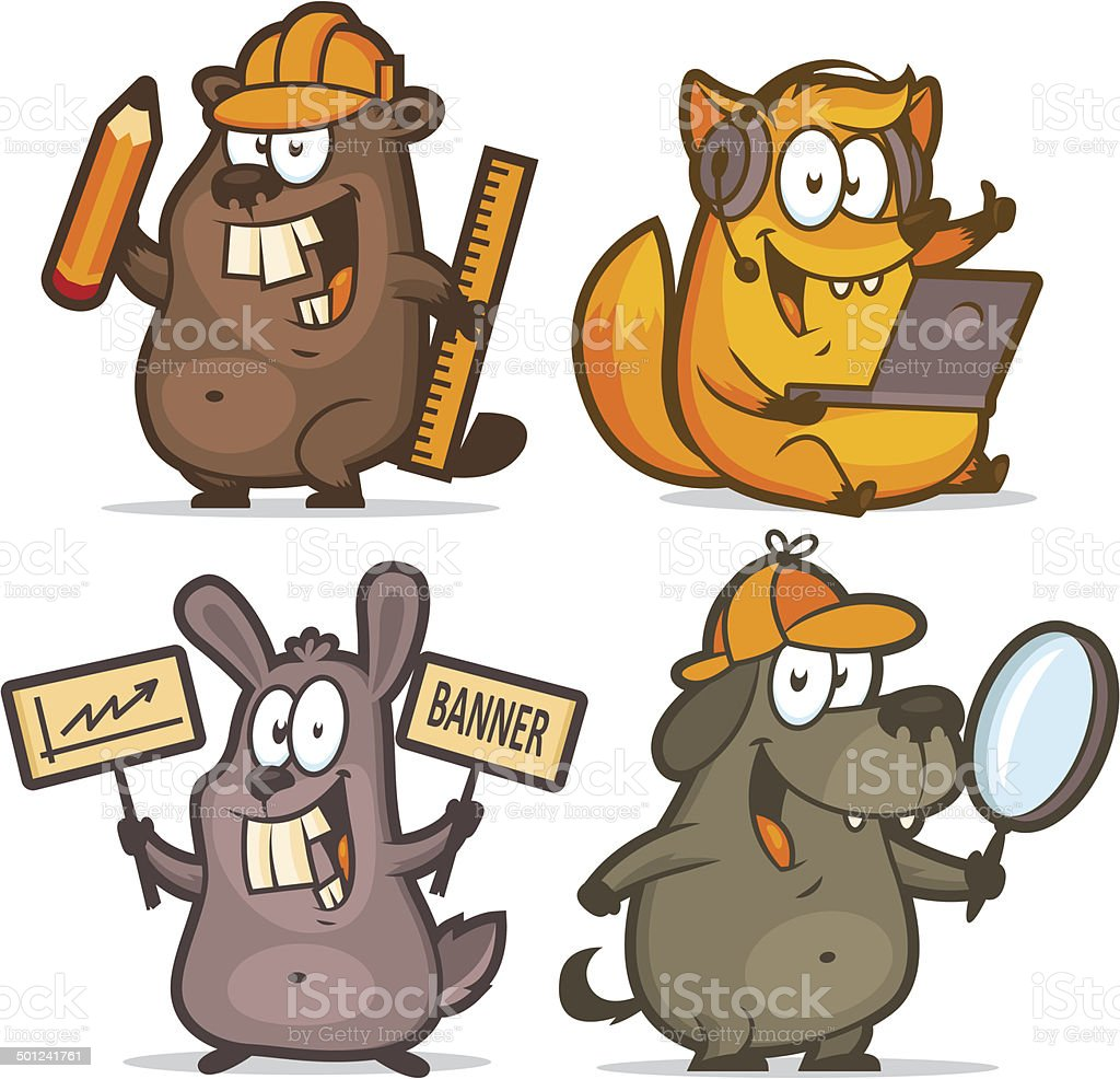 Beaver fox rabbit dog business concept vector art illustration