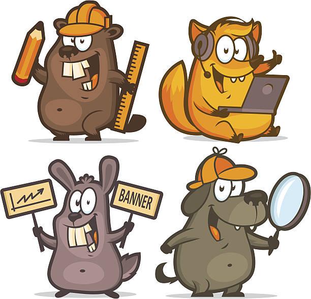 biber fuchs kaninchen hund geschäftskonzept - - kaninchenbau stock-grafiken, -clipart, -cartoons und -symbole