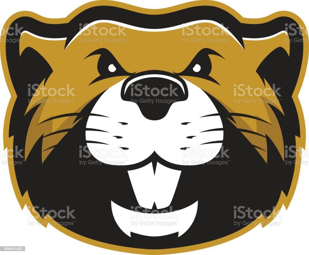 Mascotte castor de tête 2 - Illustration vectorielle