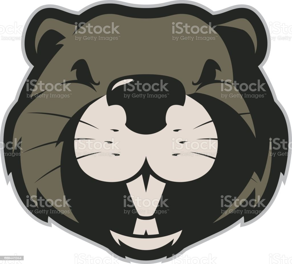 Beaver head mascot 4 vector art illustration