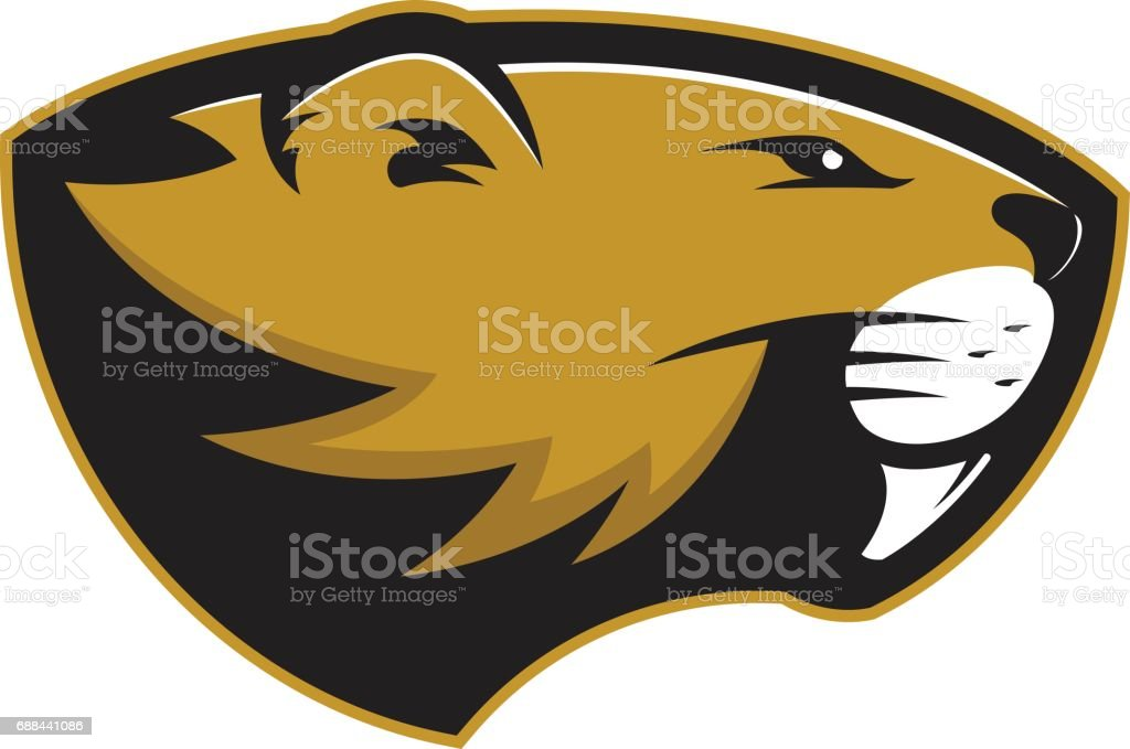 Beaver head mascot vector art illustration