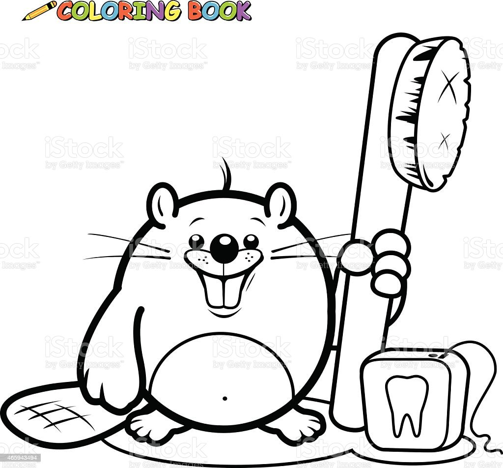 Beaver holding a toothbrush and dental floss coloring book page vector art illustration