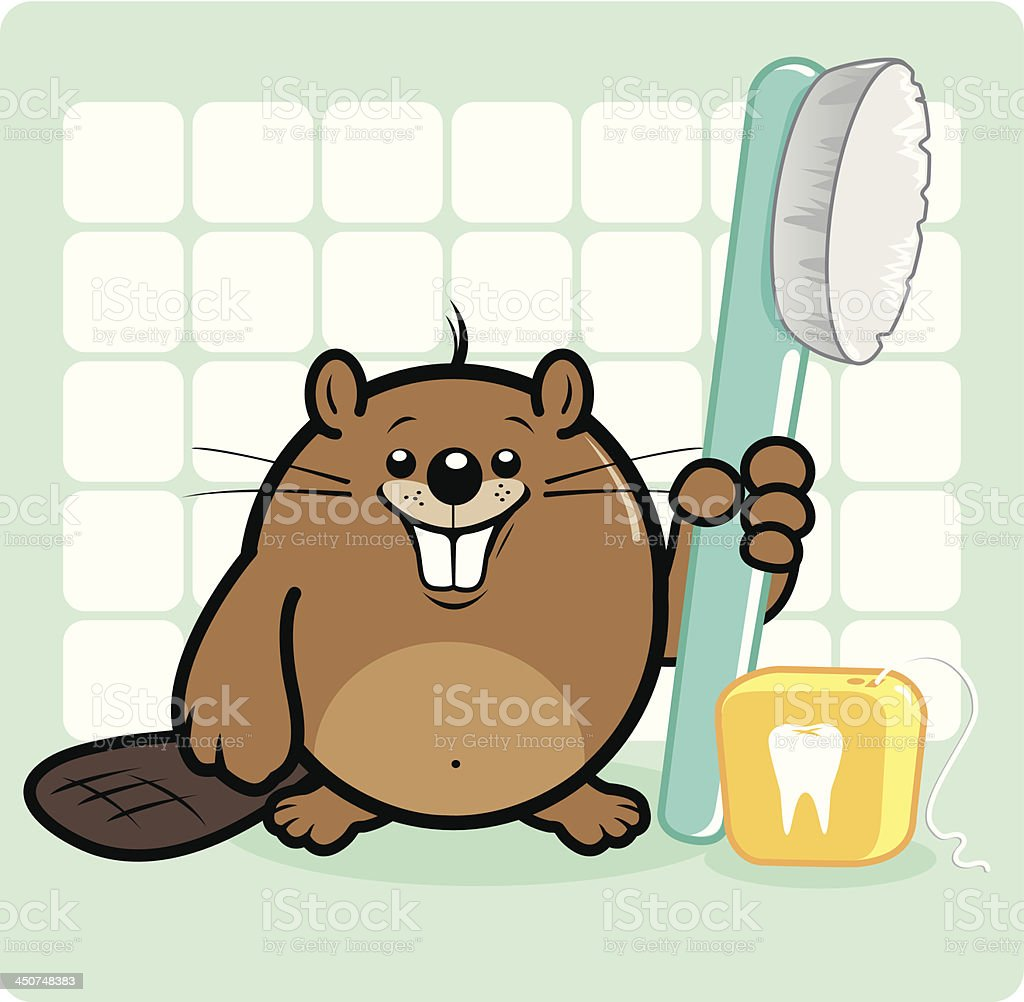 Beaver holding a toothbrush and dental floss vector art illustration
