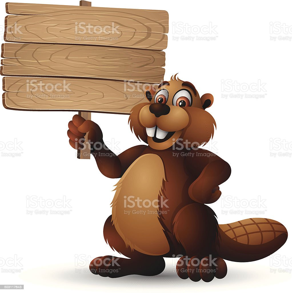 Beaver holding a Wooden Sign vector art illustration