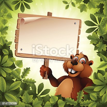 istock Beaver holding a Wooden Sign 514729209